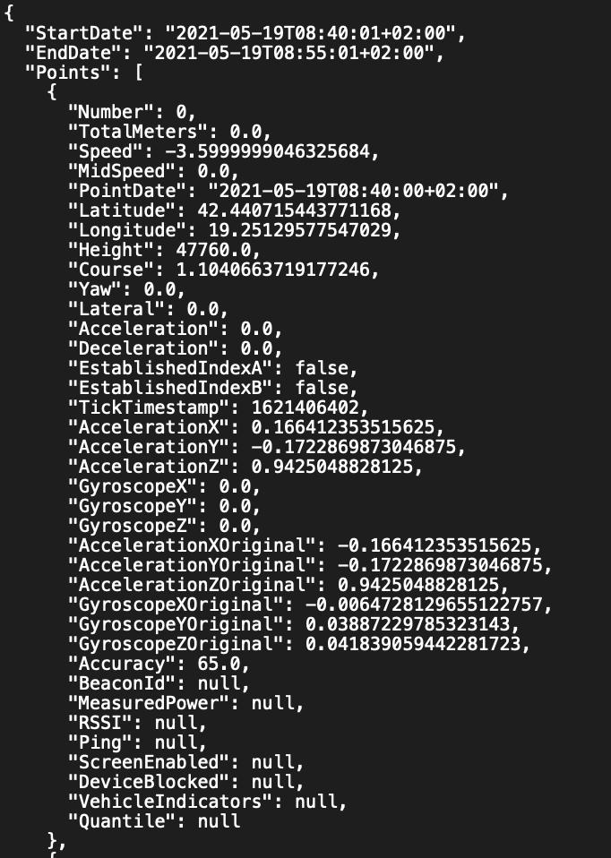 Telematics API call